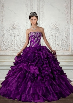 Ball Gown Strapless Quinceanera Dress with Embroidery and Ruffles