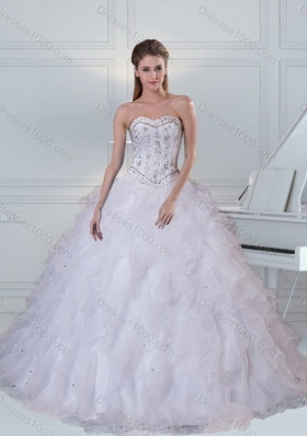Detachable Sweetheart White Quinceanera Dress with Ruffles and Beading