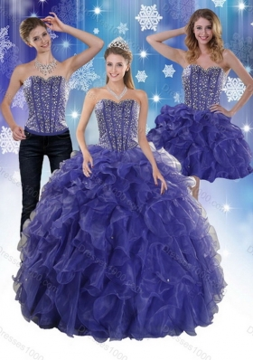 The Unique and Detachable Super Hot Beading and Ruffles Quince Dresses in Royal Bule