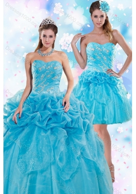 Unique and Detachable Exquisite Appliques and Pick Ups Teal Quinceanera Dresses for 2015