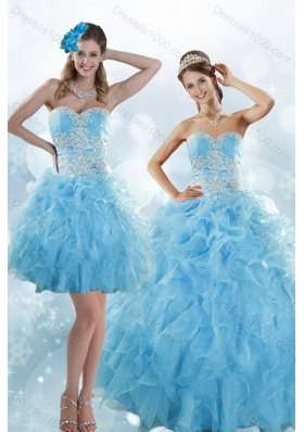 Unique and Detachable Sophisticated Appliques and Ruffles Baby Blue Sweet 15 Dresses