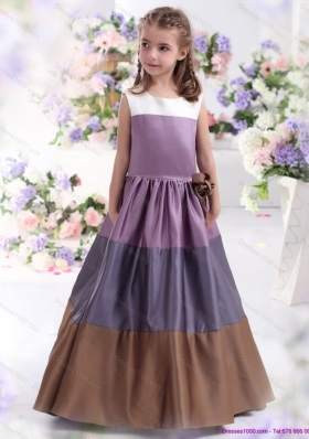 2015 Pretty Multi Color Scoop Little Girl Pageant Dress with Bowknot