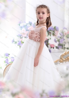 2015 Pretty Scoop Little Girl Pageantl Dress with Hand Made Flowers