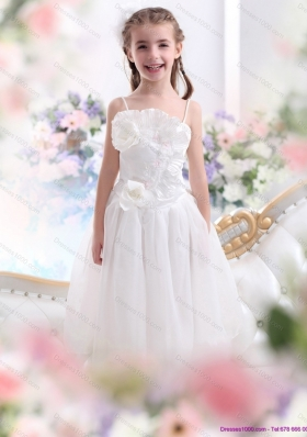 2015 White Spaghetti Straps Little Girl Pageant Dresses with Flowers and Ruffles