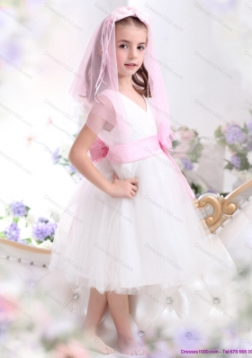 Beautiful White Little Girl Pageant Dress with Baby Pink Waistband and Hand Made Flower