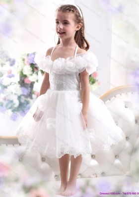 Comfortable White Halter Top Little Girl Pageant Dresses with Hand Made Flower