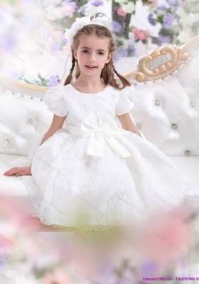 Elegant Lace 2015 White Little Girl Pageant Dress with Short Sleeves and Bowknot