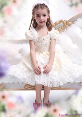 Gorgeous Champagne Little Girl Pageant Dress with Hand Made Flower and Lace