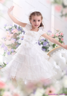 Gorgeous Ruffled Layers White 2015 Little Girl Pageant Dress with Hand Made Flower