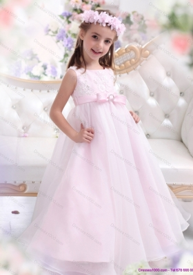 Scoop Appliques and Bownot Pageant Dresses for Girl in Baby Pink