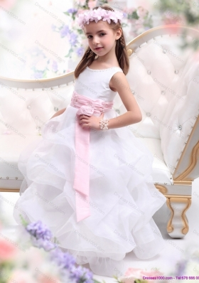 Scoop White Little Girl Pageant Dress with Sash and Ruffles