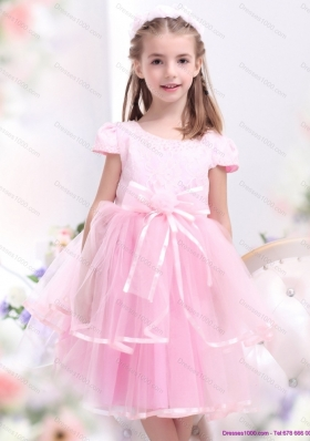 Unique Bowknot and Appliques 2015 Little Girl Pageant Dresses in Rose Pink