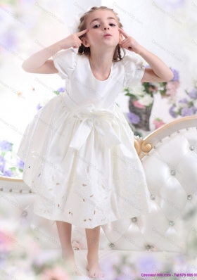 White Scoop 2015 Little Girl Pageant Dress with Bowknot and Cap Sleeves