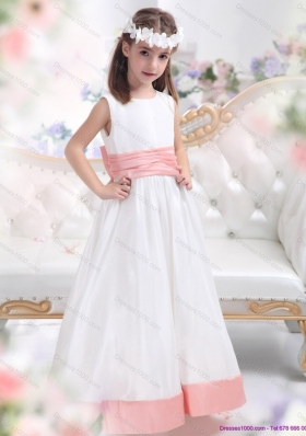 White Scoop 2015 Little Girl Pageant Dress with Pink Waistband