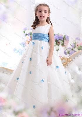 White Scoop Little Girl Pageant Dress with Baby Blue Waistband and Appliques