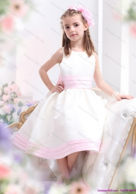 White Scoop Little Girl Pageant Dress with Light Pink Bowknot