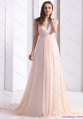 2015 Brush Train Long Prom Dresses with Beading and Ruching