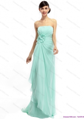 Sweep Train Apple Green Prom Dresses with Ruching and Hand Made Flower