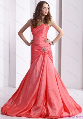 Affordable Ruching and Beading Prom Dress with Brush Train