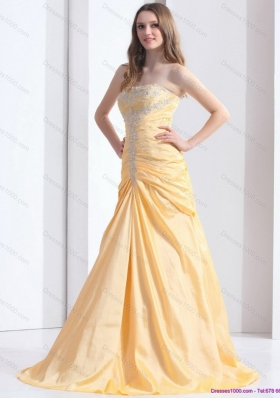 Brush Train Gold Prom Dresses with Ruching and Beading