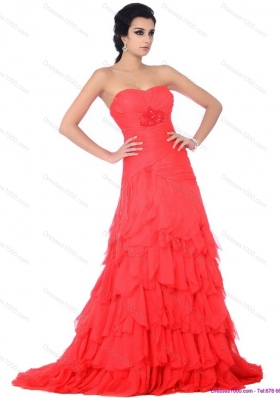 Brush Train Prom Dresses with Ruffled Layers and Beading