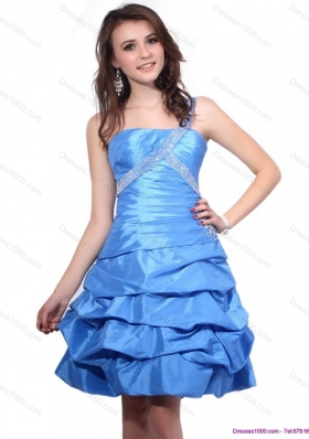 One Shoulder Baby Blue Prom Dresses with Pick Ups and Beading