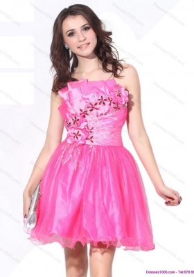 One Shoulder Hot Pink Short Prom Dresses with Ruching and Beading