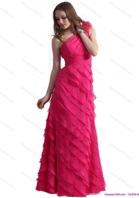 One Shoulder Prom Dresses with Ruffled Layers and Hand Made Flower