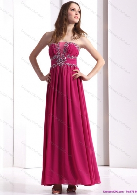 Sophisticated Strapless Floor Length 2015 Prom Dress with Beading