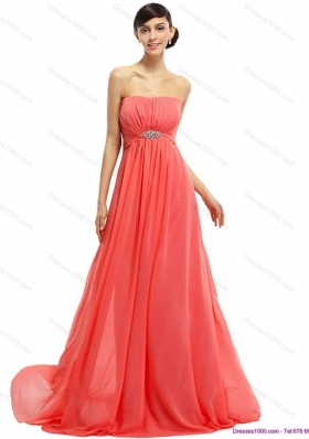 Watermelon Beading Long Prom Dresses with Ruching and Sweep Train