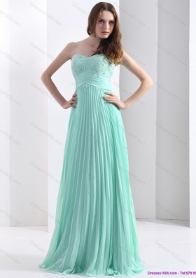 2015 Brush Train Apple Green Prom Dress with Beading and Pleats