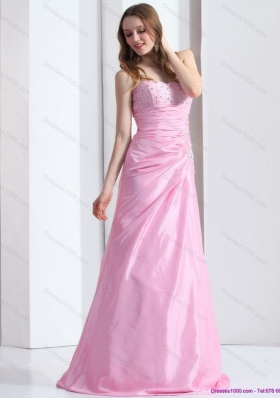 2015 Elegant Baby Pink Sweetheart Prom Dress with Beading and Ruching