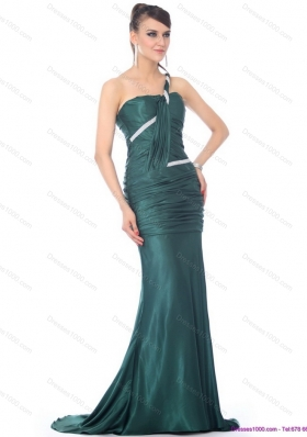 2015 Elegant One Shoulde Prom Dress with Ruching and Brush Train