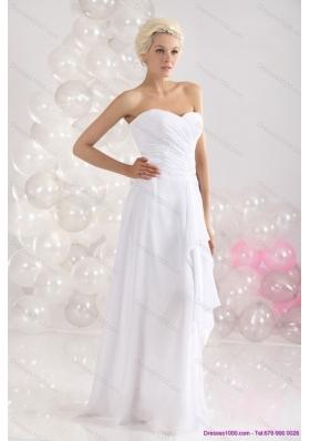 2015 Elegant Ruching Floor Length Prom Dress in White