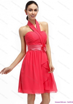 2015 Halter Top Prom Dresses with Ruching and Hand Made Flowers