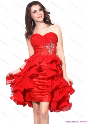2015 Red Ruching Sweetheart Prom Dresses with Beading and Ruffles