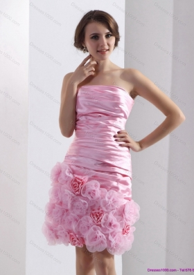 2015 Short Lovely Strapless Ruching Mini Length Prom Dress in Baby Pink