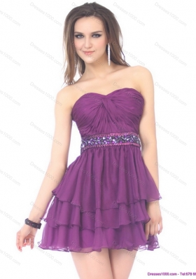 2015 Short Sweetheart Mini Length Prom Dress with Sequins and Ruching