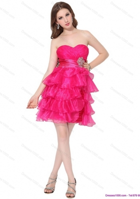 2015 Sweetheart Prom Dresses with Ruffled Layers and Beading
