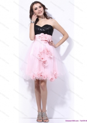 2015 Sweetheart Sequins and Hand Made Flowers Prom Dresses in Pink and Black