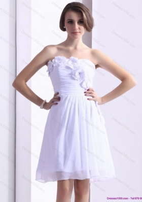 2015 White Strapless Prom Dresses with Ruching and Hand Made Flower