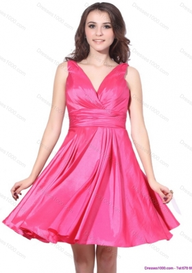 2015 Wonderful V Neck Short Prom Dress with Ruching