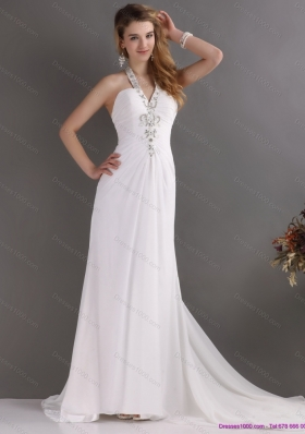 Beautiful 2015 Halter Top White Prom Dress with Ruching and Beading