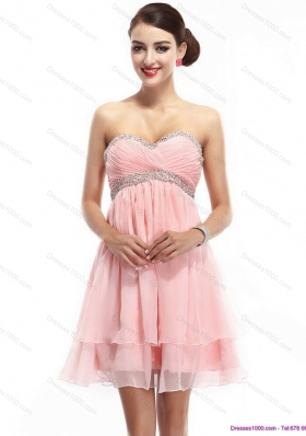 Beautiful Sweetheart 2015 Short Prom Dress with Beading and Ruching