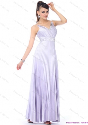 Elegant 2015 Empire V Neck Prom Dress with Pleats and Beading