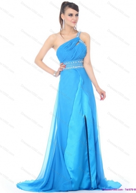 Elegant 2015 One Shoulder Blue Long Prom Dress with Rhinestones