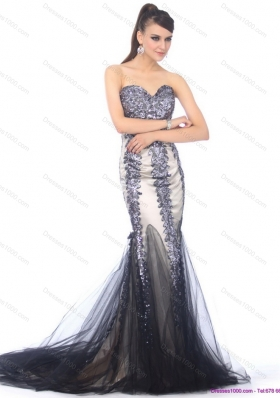 Elegant 2015 Sweetheart Mermaid Prom Dress with Beading and Brush Train