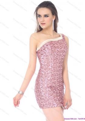 Elegant One Shoulder Sequins Mini Length Prom Dress for 2015