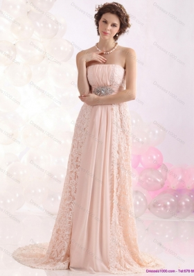 Elegant Strapless Sequins and Lace Prom Dress with Brush Train