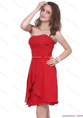 Elegant Strapless Short Red 2015 Prom Dress with Ruching